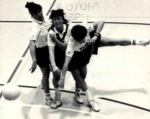 From left to right, Alison Keyte, England C, Patricia McQuade, Republic of Ireland C, and Sheila Edwards, England GA in a tussle for possession | Dave Shopland Sports Photography