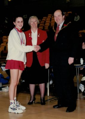 Winners England Under 16 captain Anna Carter with Mayor of Huddersfield and Jean Bourne