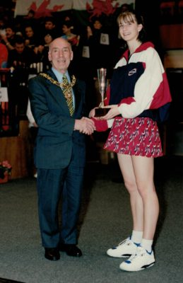England Captain ????? receiving the winners trophy from the Mayor of Huddersfield