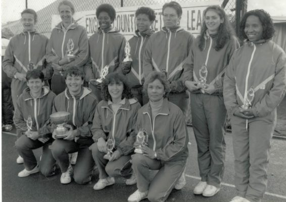 Surrey English Counties League Division 1 winners. Front left Sue Keal and Sheila Hartley
