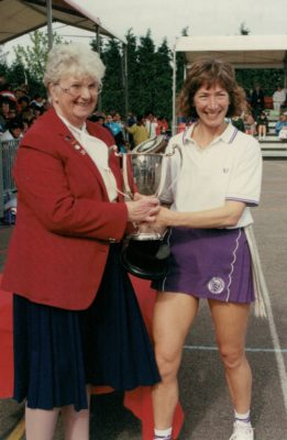 Jillean Hipsey, Essex Met Captain being presented with the winners cup by Pat Taylor, President.