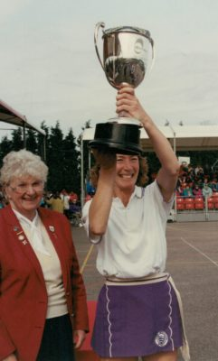 Jillean Hipsey with winners cup and Pat Taylor