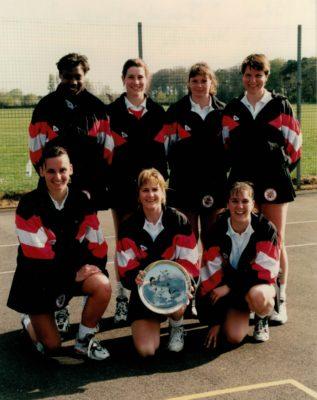 Bedfordshire squad: Back Row:  ???, Jackie Manson, ???, Kendra Slawinski Front Row:  Louise Sheridan, Sharon Fogarty, Nicky Gabriel