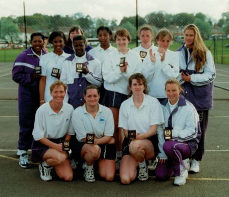 Senior section Runners-up, Essex Metropolitan Back Row:  ???, ???, Pat Meadows Coach (hiding), Jeanne Merrifield, Amanda Newton, Fiona Murtagh, Anne Marie Muller, Amanda Stride, ???. Front Row:  Justine Saunders, Chris Mansell, Lorriane Law, ???