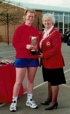 North Durham Under 21 Captain presented with the winners cup by Jean Bourne, President