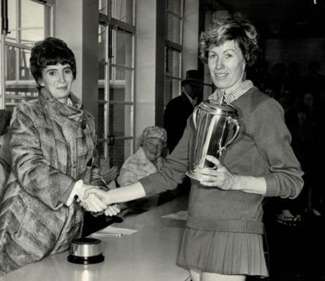 Winners Sudbury Captain Judi Day receiving trophy. | London Press Photos