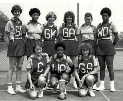Winners OPA Squad.  Some more interesting names.  GA Pat Meadows.  C Sue Collins.   GD Lesley Darby.  GS Les Jones Back l-r. Lesley Darby, Loretta Bourne, Brenda Pollard, Pat Meadows (Cane) Brenda Cane, Sonia a Rodney, Front row l-r. Sue Collins, Maureen Stewart, and Lesley Jones