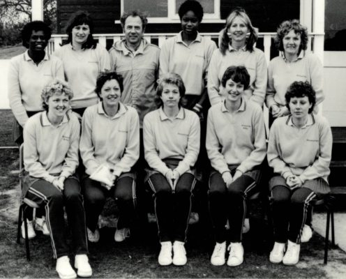 Runners-up Grasshoppers with their Sid Smailes Back row left to right: Pam Taitt, Janet ?, Syd Smailes,Jess Parkes (Eng), Yvonne Woodhouse (Eng), Sheila Darnley, Front row l to r Gail Perrins, Chris Athersuch, Judy Hinton, Angela Blunt (Eng), Ros Daniels (Eng)