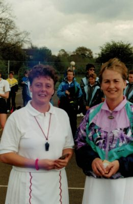 Umpires Kim Lumley (left) and Irene Smith