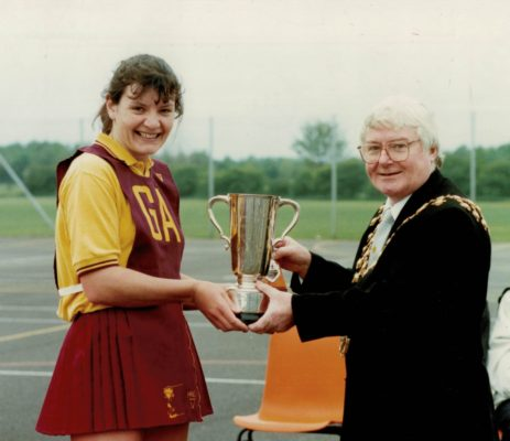 Winners Hirondelles Captain Sheila Edwards presented with the trophy by Councillor Tully, Mayor of Trafford.