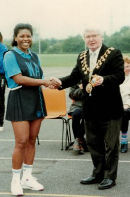Runners-up Hornsey captain with Councillor Tully, Mayor of Trafford.