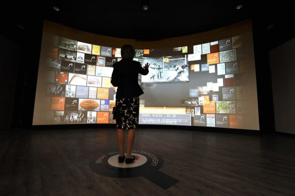 The interactive screen in the Heritage Quay archive