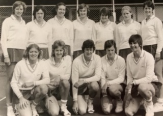 Top row: Pat Watson, Lyn McDonald, Judi Heath, Anne Miles (Captain), Maria Stewart, Colette Reeder (now Thompson), Linda Allison (now Scovell)  Bottom Row : Pat Cane (now Meadows), Lesley Darby, Chris Maylor, Madeleine Dwan, Cathy Hickey