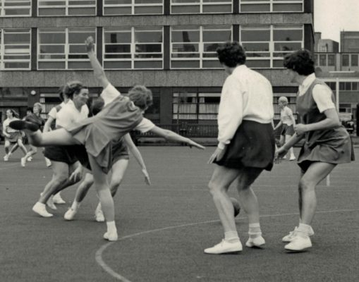 Match in the 1950s which shows Mary french (nee Preston) attempting a pass into the circle.