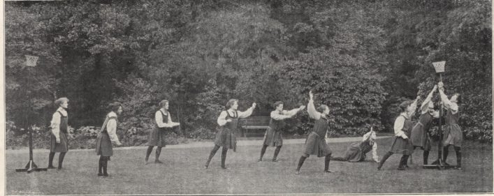 Match showing the goal baskets circa 1900