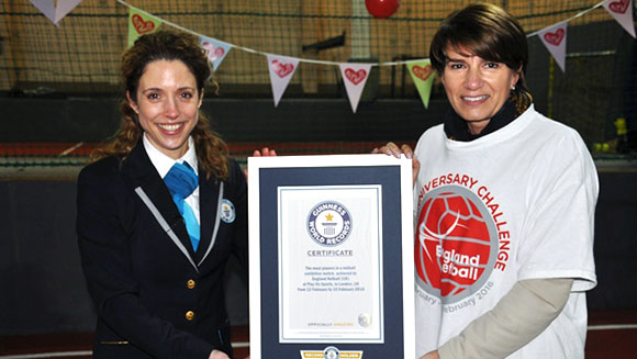 Guinness World Records adjudicator Anna Orford with Joanna Adams EN CEO and Certificate
