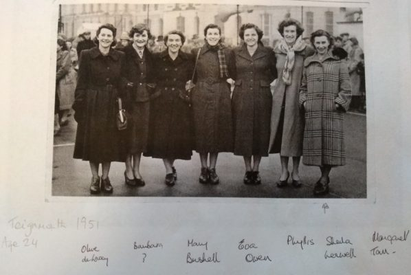From left to right:  Olive de Lacey, Barbara Alexander (nee Pitcher), Mary French (nee Bushell), Eva Owen, Phyllis Ridgewell, Sheila Lerwill, Margaret Tarr (nee Wood)