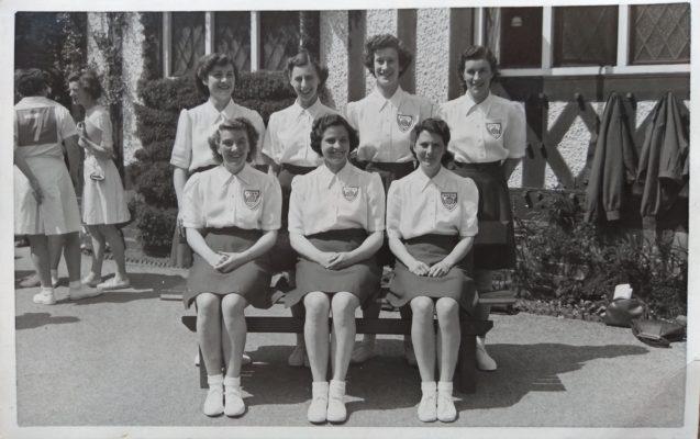 Back row:  Barbara Pitcher, Margaret Tarr, Sheila Lerwill, Eva Owen. Front row:  Mary Bushell, Phyllis Ridgewell, Olive de Lacey.