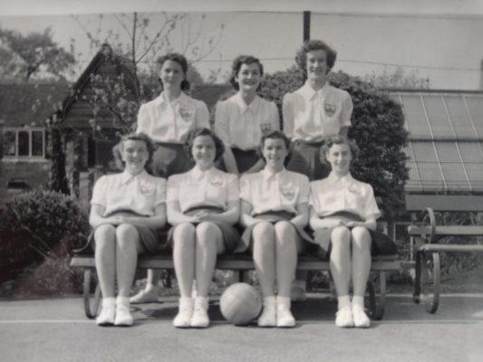 Back row:  Olive de Lacey, Barbara Pitcher, Sheila Lerwill. Front row:  Mary Bushell, Phyllis Ridgewell, Eva Owen, Margaret Tarr.