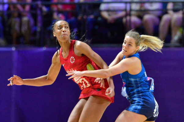 Picture by Allan McKenzie/SWpix.com - 13/07/2019 - Netball - Vitality Netball World Cup 2019 - England v Scotland - M&S Bank Arena, Liverpool, England - Layla Guscoth of England. | SWpix.com