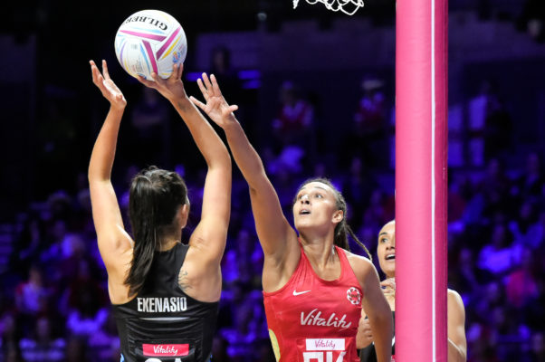 Picture by Allan McKenzie/SWpix.com - 20/07/2019 - Netball - Vitality Netball World Cup 2019 semi final - England v New Zealand - M&S Bank Arena, Liverpool, England - Ameliaranne Ekenasio of New Zealand and Geva Mentor of England. | SWpix.com