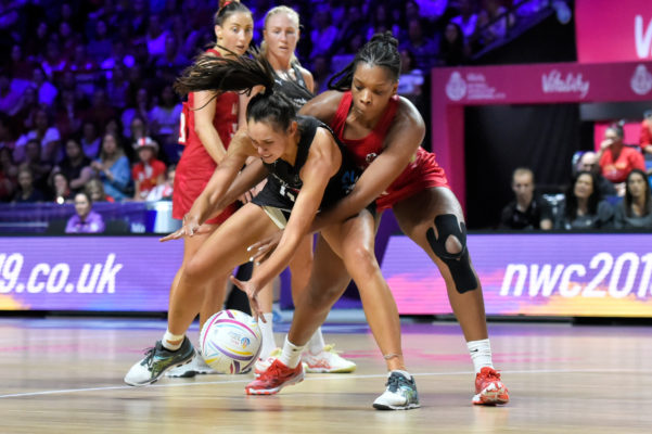 Picture by Allan McKenzie/SWpix.com - 20/07/2019 - Netball - Vitality Netball World Cup 2019 semi final - England v New Zealand - M&S Bank Arena, Liverpool, England - Ameliaranne Ekenasio of New Zealand and Eboni Usoro-Brown of England. | SWpix.com