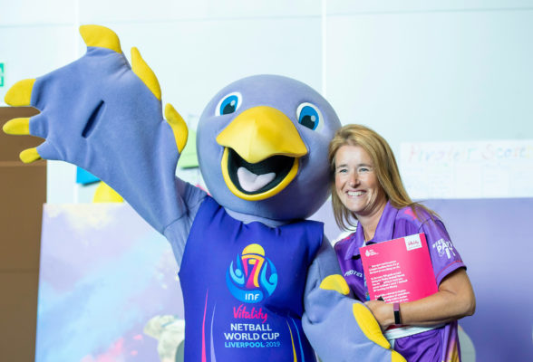 Picture by Allan McKenzie/SWpix.com - 20/07/2019 - Netball - Vitality Netball World Cup - M&S Bank Arena, Liverpool, England - Jude has pictures taken with pivoteers. | SWpix.com