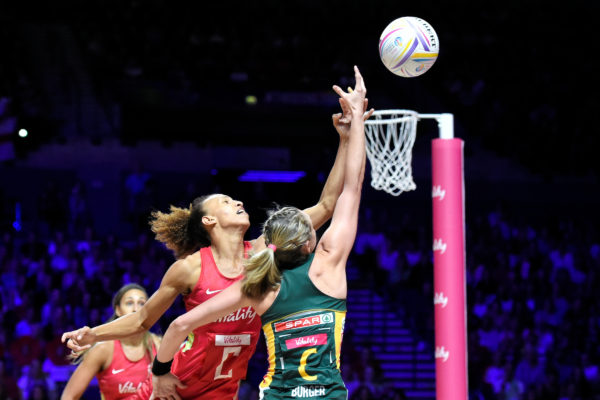Picture by Allan McKenzie/SWpix.com - 21/07/2019 - Netball - Vitality Netball World Cup 2019 bronze medal match - England v South Africa - M&S Bank Arena, Liverpool, England - Serena Guthrie of England and Erin Burger of South Africa. | SWpix.com