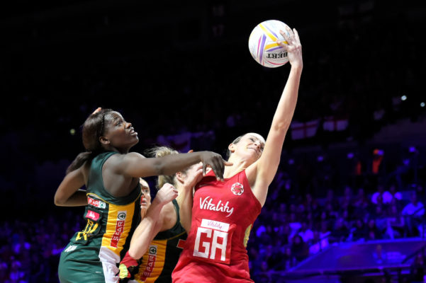 Picture by Allan McKenzie/SWpix.com - 21/07/2019 - Netball - Vitality Netball World Cup 2019 bronze medal match - England v South Africa - M&S Bank Arena, Liverpool, England - Phumza Maweni of South Africa and Joanne Harten of England. | SWpix.com