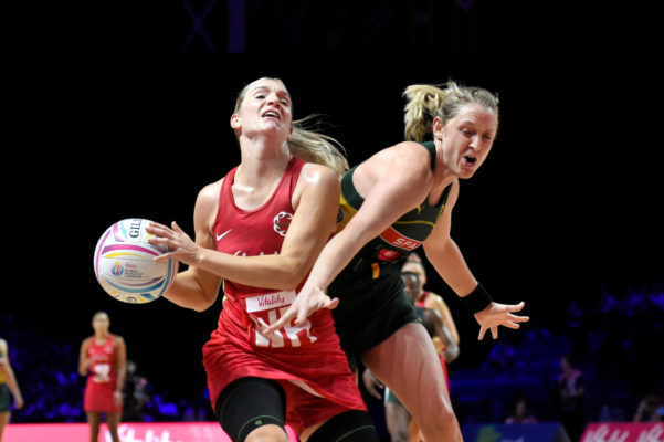 Picture by Allan McKenzie/SWpix.com - 21/07/2019 - Netball - Vitality Netball World Cup 2019 bronze medal match - England v South Africa - M&S Bank Arena, Liverpool, England - Natalie Haythornthwaite of England and Erin Burger of South Africa. | SWpix.com