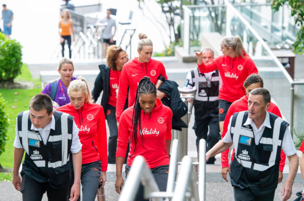 Picture by Allan McKenzie/SWpix.com - 14/07/2019 - Netball - Vitality Netball World Cup - England Team Fan Meet & Greet - Chavasse Park Fan Zone, Liverpool, England - The England netball team arrive at the fan zone. | SWpix.com
