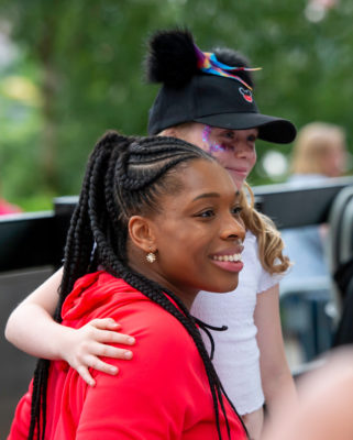 Picture by Allan McKenzie/SWpix.com - 14/07/2019 - Netball - Vitality Netball World Cup - England Team Fan Meet & Greet - Chavasse Park Fan Zone, Liverpool, England - Eboni Usoro-Brown meets the fans. | SWpix.com
