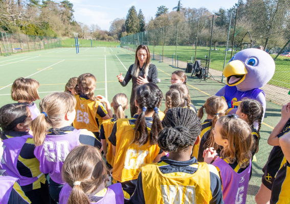 Picture by Allan McKenzie/SWpix.com - 26/03/2019 - Netball - Vitality Netball World Cup Mascot Launch - St Albans High School Prep - Wheathampstead, St Albans, England - Jade Clark holds an informal training session with the St Albans High Prep school netball girls. | SWpix.com