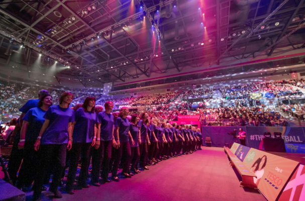 Picture by Allan McKenzie/SWpix.com - 12/07/2019 - Netball - Vitality Netball World Cup - Opening Ceremony - M&S Bank Arena, Liverpool, England - The opening ceremony choir.