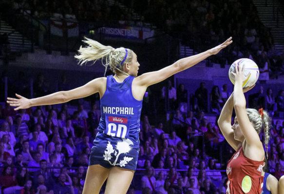 Picture by Allan McKenzie/SWpix.com - 13/07/2019 - Netball - Vitality Netball World Cup - England v Scotland - M&S Bank Arena, Liverpool, England - Sarah MacPhail defends against Natalie Haythornthwaite. | SWpix.com