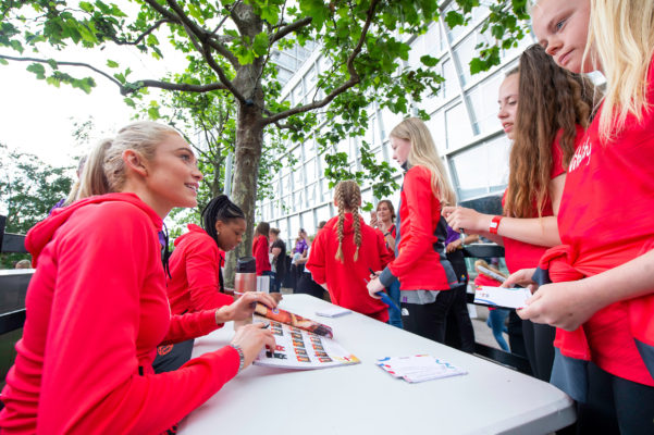 Picture by Allan McKenzie/SWpix.com - 14/07/2019 - Netball - Vitality Netball World Cup - England Team Fan Meet & Greet - Chavasse Park Fan Zone, Liverpool, England - Helen Housby meets the fans. | SWpix.com