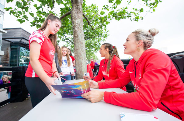 Picture by Allan McKenzie/SWpix.com - 14/07/2019 - Netball - Vitality Netball World Cup - England Team Fan Meet & Greet - Chavasse Park Fan Zone, Liverpool, England - Chelsea Pitman meets the fans. | SWpix.com