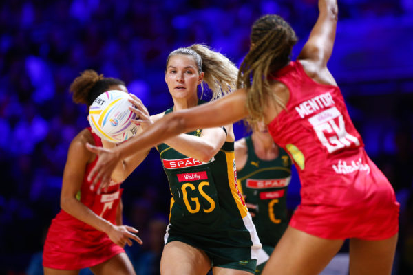 Picture by Alex Whitehead/SWpix.com - 18/07/2019 - Netball - Vitality Netball World Cup 2019 - South Africa v England - M&S Bank Arena, Liverpool, England - Lenize Potgieter of South Africa (GS) and Geva Mentor of England | SWpix.com