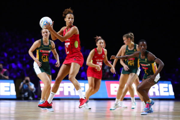 Picture by Alex Whitehead/SWpix.com - 18/07/2019 - Netball - Vitality Netball World Cup 2019 - South Africa v England - M&S Bank Arena, Liverpool, England - Serena Guthrie of England. | SWpix.com