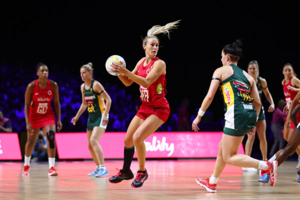Picture by Alex Whitehead/SWpix.com - 18/07/2019 - Netball - Vitality Netball World Cup 2019 - South Africa v England - M&S Bank Arena, Liverpool, England - Chelsea Pitman of England. | SWpix.com