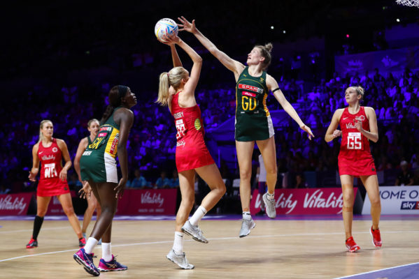 Picture by Alex Whitehead/SWpix.com - 18/07/2019 - Netball - Vitality Netball World Cup 2019 - South Africa v England - M&S Bank Arena, Liverpool, England - Helen Housby of England and Karla Pretorius of South Africa. | SWpix.com
