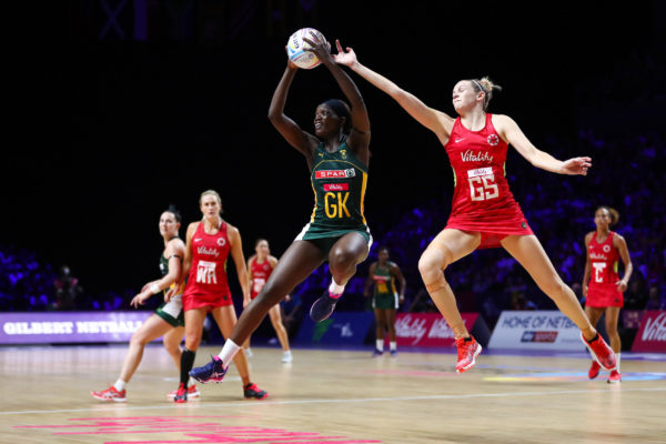 Picture by Alex Whitehead/SWpix.com - 18/07/2019 - Netball - Vitality Netball World Cup 2019 - South Africa v England - M&S Bank Arena, Liverpool, England - Phumza Maweni of South Africa and Joanne Harten of England. | SWpix.com