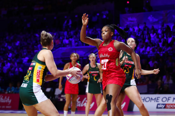 Picture by Alex Whitehead/SWpix.com - 18/07/2019 - Netball - Vitality Netball World Cup 2019 - South Africa v England - M&S Bank Arena, Liverpool, England - Eboni Usoro-Brown of England. | SWpix.com