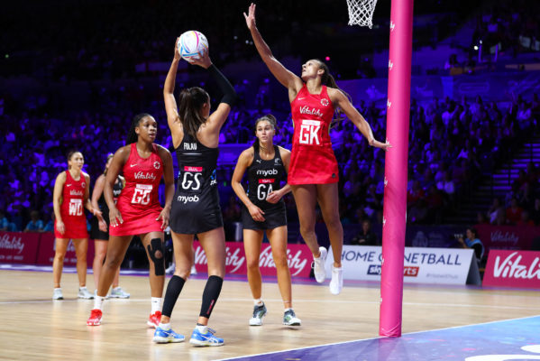 Picture by Alex Whitehead/SWpix.com - 20/07/2019 - Netball - Vitality Netball World Cup 2019 semi final - England v New Zealand - M&S Bank Arena, Liverpool, England - Maria Folau of New Zealand and Geva Mentor of England. | SWpix.com