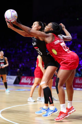 Picture by Alex Whitehead/SWpix.com - 20/07/2019 - Netball - Vitality Netball World Cup 2019 semi final - England v New Zealand - M&S Bank Arena, Liverpool, England - Eboni Usoro-Brown of England and Maria Folau of New Zealand. | SWpix.com