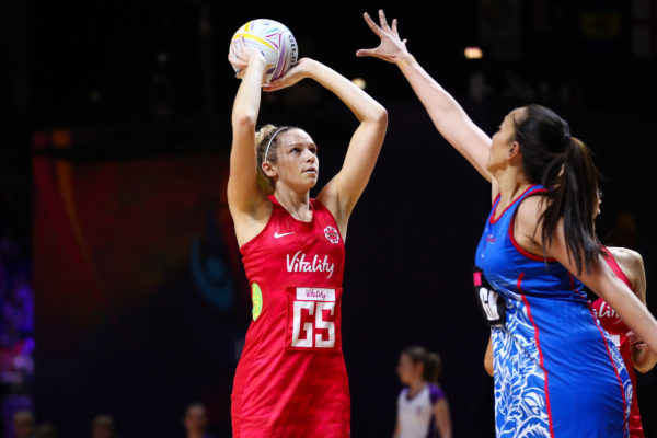 Picture by Alex Whitehead/SWpix.com - 14/07/2019 - Netball - Vitality Netball World Cup 2019 - England v Samoa - M&S Bank Arena, Liverpool, England - Joanne Harten of England. | SWpix.com