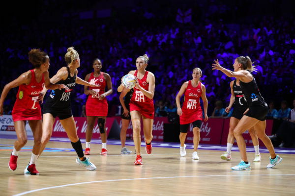 Picture by Alex Whitehead/SWpix.com - 20/07/2019 - Netball - Vitality Netball World Cup 2019 semi final - England v New Zealand - M&S Bank Arena, Liverpool, England - Joanne Harten of England. | SWpix.com