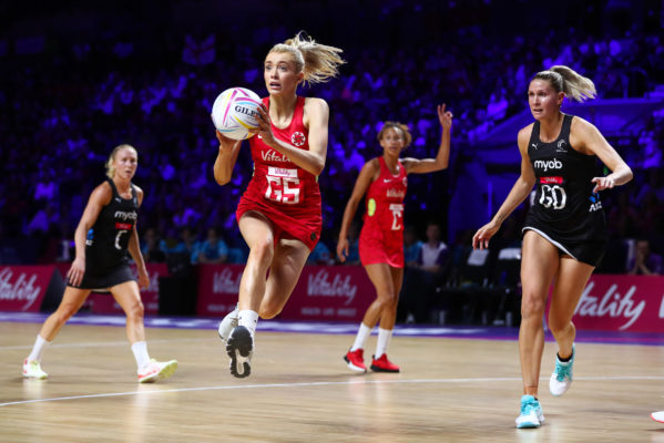 Picture by Alex Whitehead/SWpix.com - 20/07/2019 - Netball - Vitality Netball World Cup 2019 semi final - England v New Zealand - M&S Bank Arena, Liverpool, England - Helen Housby of England and Casey Kopua of New Zealand. | SWpix.com