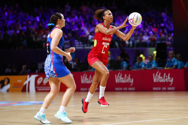 Picture by Alex Whitehead/SWpix.com - 14/07/2019 - Netball - Vitality Netball World Cup 2019 - England v Samoa - M&S Bank Arena, Liverpool, England - Serena Guthrie of England. | SWpix.com