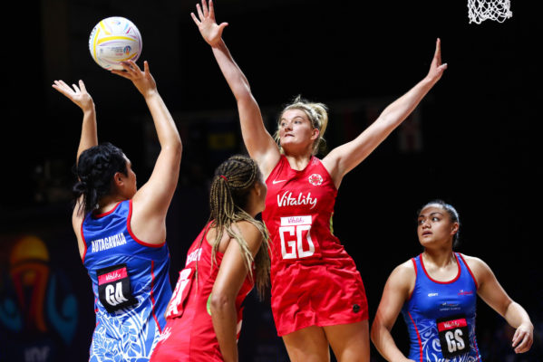 Picture by Alex Whitehead/SWpix.com - 14/07/2019 - Netball - Vitality Netball World Cup 2019 - England v Samoa - M&S Bank Arena, Liverpool, England - Francesca Williams of England. | SWpix.com